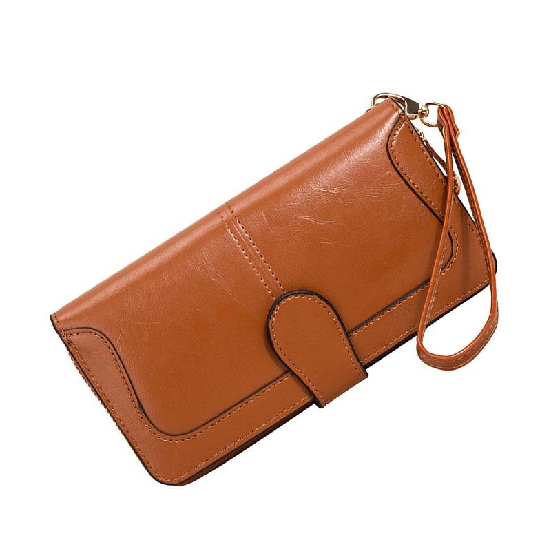 Leather Women's Wallets Fashion Solid Color Designer Long Purses Female Zipper Wallet Phone Bag Women Coin Purse Card Holder