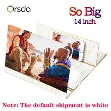 Orsda 3D หน้าจอเครื่องขยายเสียง Stereoscopic 14 นิ้วหน้าจอโทรศัพท์มือถือพับสำหรับ Xiaomi Samsung Huawei Apple