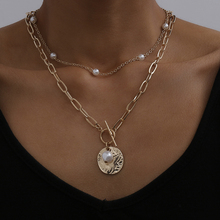 Pendant Choker Necklace Bead Pearl-Coin Gift Long-Chain Punk Wedding Gold-Color Gothic