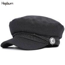 Hepburn brand Cotton Trucker Caps Women Cap casquette militaire Yacht Captain hat Female skipper sailor army Military Hat