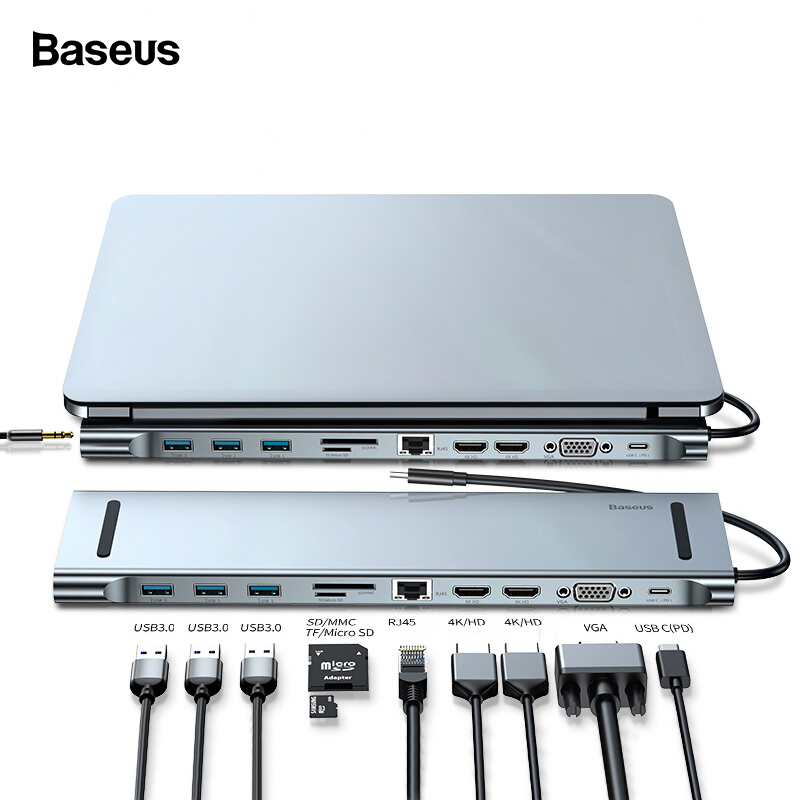 Baseus <font><b>USB</b></font> C <font><b>HUB</b></font> Type C to HDMI VGA RJ45 Multi Ports <font><b>USB</b></font> <font><b>3.0</b></font> USB3.0 Type-C Splitter For Macbook Pro Air <font><b>USB</b></font>-C <font><b>HUB</b></font> Power Adapter image