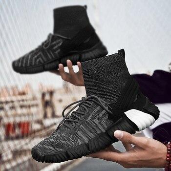 Nueva Experiencia alta para ayudar a los zapatos deportivos tejidos para hombres, zapatos informales para hombres, zapatos ligeros y cómodos para hombres