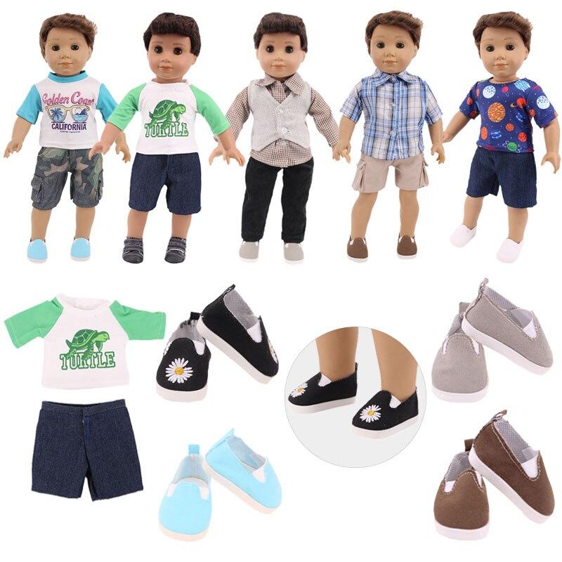 Ropa de muñeca 2 uds abrigo de manga corta + Pantalones trajes Fit 18 pulgadas americano y 43CM bebé renacido Logan niño muñeca chica Rusia regalos