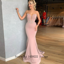 Beads-Belt Mermaid Evening-Dresses Satin Vestidos-De-Fiesta Pink Soiree-Plus Sweetheart