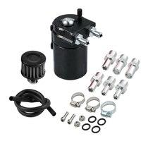 Oil Catch Reservoir Breather Can Tank +Filter Kit Cylinder Aluminum Engine Black