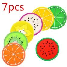 7 PCS Fruit Shape Silicone Cup Pad Slip Insulation Pad Cup Mat Holder Orange/Watermelon/Carambola/Dragon Fruit Wholesale store