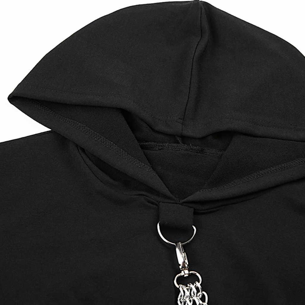 Harajuku Hoodie เสื้อกันหนาวผู้หญิง Gothic Punkt แบบเต็มรูปแบบหลวม Hooded Sweatshirt เสื้อเสื้อผ้าหญิง moletom feminino