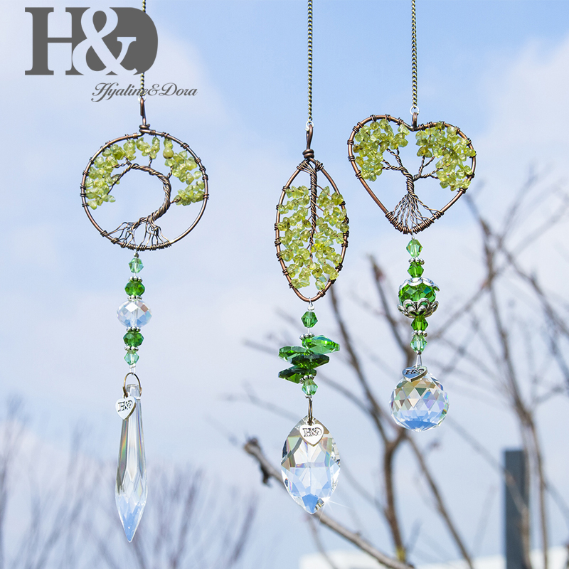 H&D 3pcs Healing Tree Of Life Crystal Prism Ball Pendants Suncatcher Rainbow Maker Chakra Window Garden Hanging Pendant Ornament
