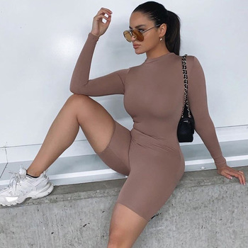 Casual Sexy Jumpsuits Women Fashion Long Sleeve Solid Sports Push Up Short Tights Rompers Womens Overalls Streetwear Female 2021 chic stand collar long sleeve rompers womens jumpsuits loose waist elastic drawstring streetwear robe slim overalls bodysuit