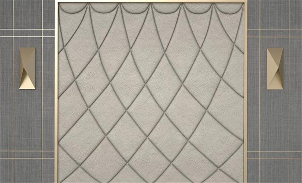 Milofi cloth pattern 3d three-dimensional leather line metal new Chinese soft bag background wall