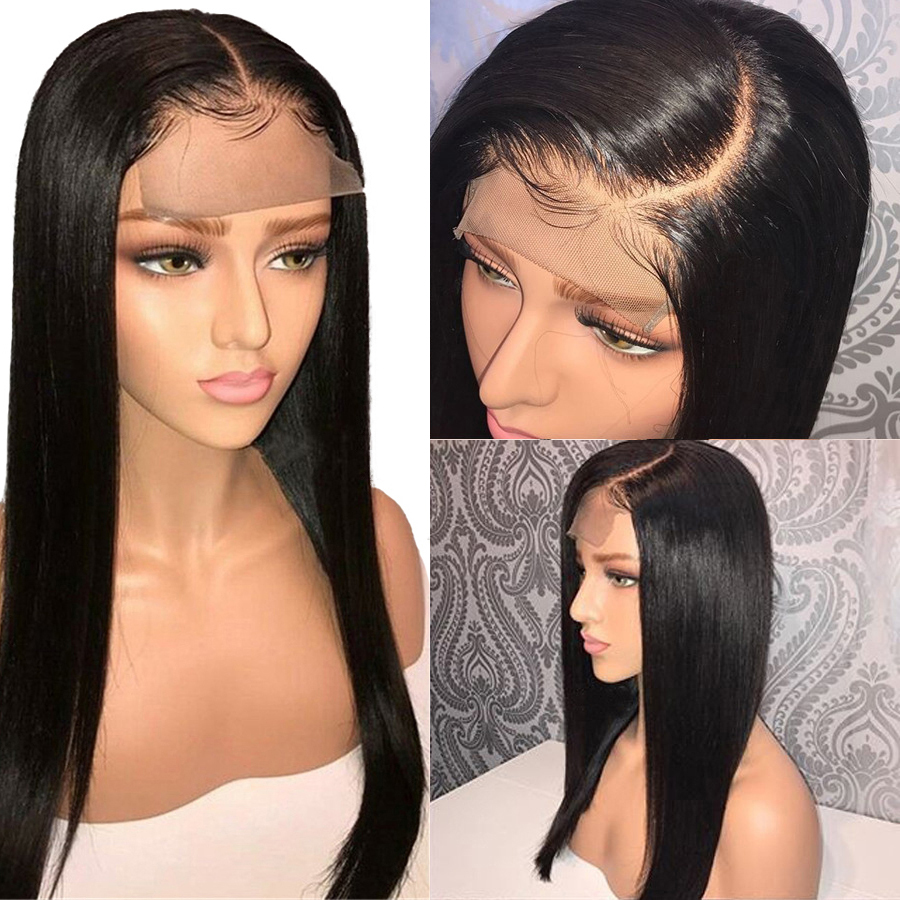 4x4 Closure Wigs Brazilian 150% Straight Lace Closure Human Hair Wigs For Black Women Sunlight Remy Hair Closure Wig Full End