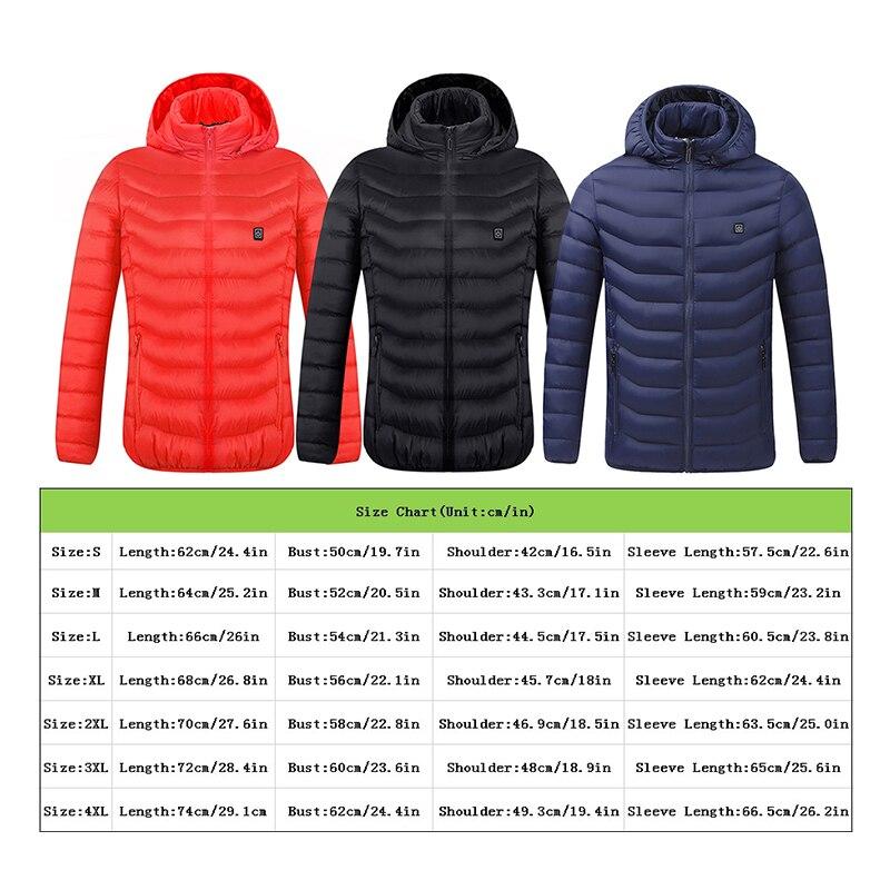 Унисекс подогревом куртки вниз хлопок тепловой жилет пальто USB электрическое отопление с длинными рукавами с капюшоном куртки зимой на открытом воздухе теплая одежда