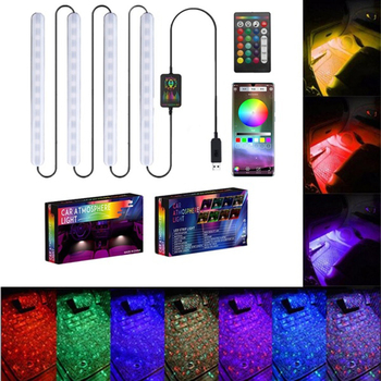 1Pc Mult Colors LED Car Door Lights Underglow Strip Voice Control /Remote Control USB Neon Ligh Car Accessories Car Decorative image