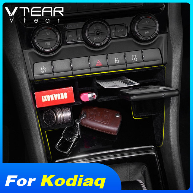 Vtear for Skoda Kodiaq car storage box Central Control Tray Holder Stowing tidying Interior Mouldings styling accessories 2019