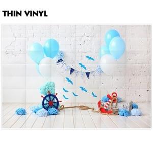 Image 2 - Allenjoy summer background navy blue balloon 1st birthday brick wood baby smash cake interior photo backdrop studio photozone