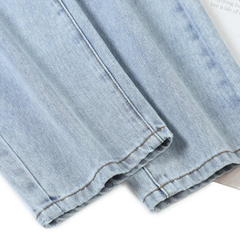 100% Cotton Cao Cấp Quần Jean Nữ Lưng Thun Denim Quần Xanh Mùa Hè 2020 Mùa Xuân Rời Vintage Ngọt Ngào Bạn Trai Quần Jean