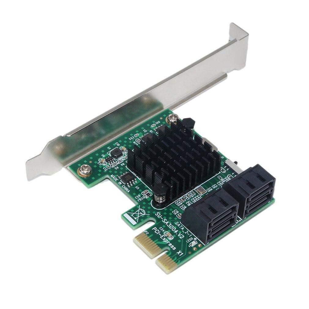 SA3004 4 Port 6G PCI-E To SATA3.0 Riser Card PCI Express To SATA 3.0 Miner SSD IPFS Adapter W/ Large Heatsink For BTC Mining