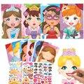 Многоразовые наклейки «сделай сам» для детей, Мультяшные животные принцессы, динозавры, головоломка с изменением лица, игры для сборки, игр...