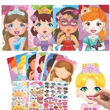 Crianças diy reutilizáveis adesivos fazer uma princesa dos desenhos animados animais dinossauro mudança face puzzle jogos montar brinquedos para crianças presentes