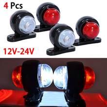 4 pces led vermelho branco lado marcador luzes esboço lâmpada caminhão do carro reboque van 12v/24v