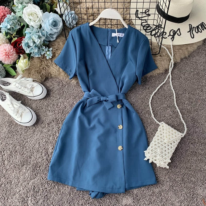 Hac3b2cc2468a431a88c89af4d18ee444Q - Candy Color Elegant Jumpsuit Women Summer Latest Style Double Ruffles Slash Neck Rompers Womens Jumpsuit Short Playsuit