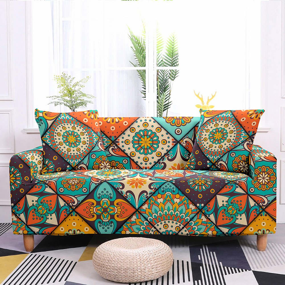 Sofa Slipcovers Stretch Sofa Cover Elastic Couch Cover Sectional Sofa Cover Bohemian Styles Mandala Pattern Sofa Cover 1-4 Seat 6