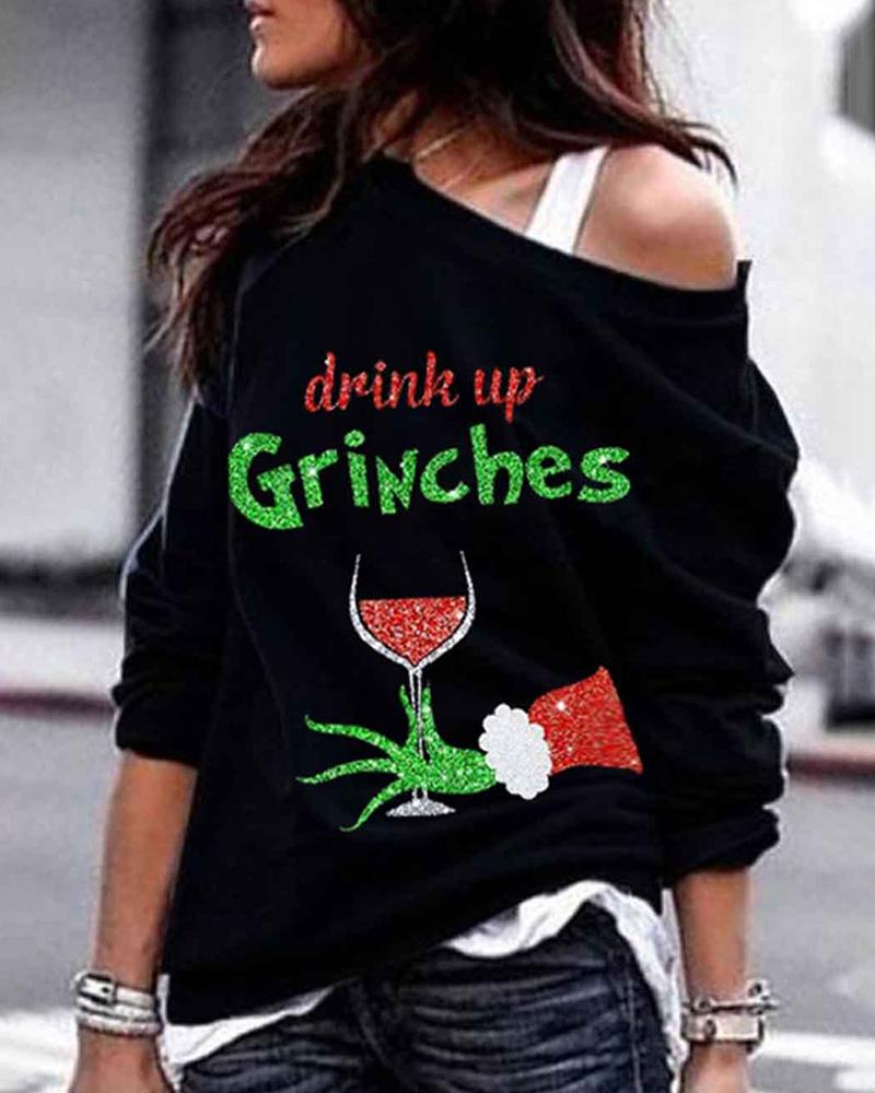 Women Fashion Casual Long Sleeve Tops Blouse Feamle  Christmas Grinches Glass Wine Print Design 2XL Plus size Sweatshirt Tops 4