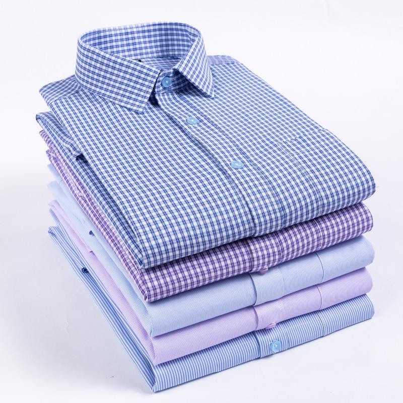 New 2019 Autumn Men Shirt Plus Size Slim Fit 45% Cotton Plaid Men Dress Shirts Regular Long Sleeve Men's Business Casual Shirt 1