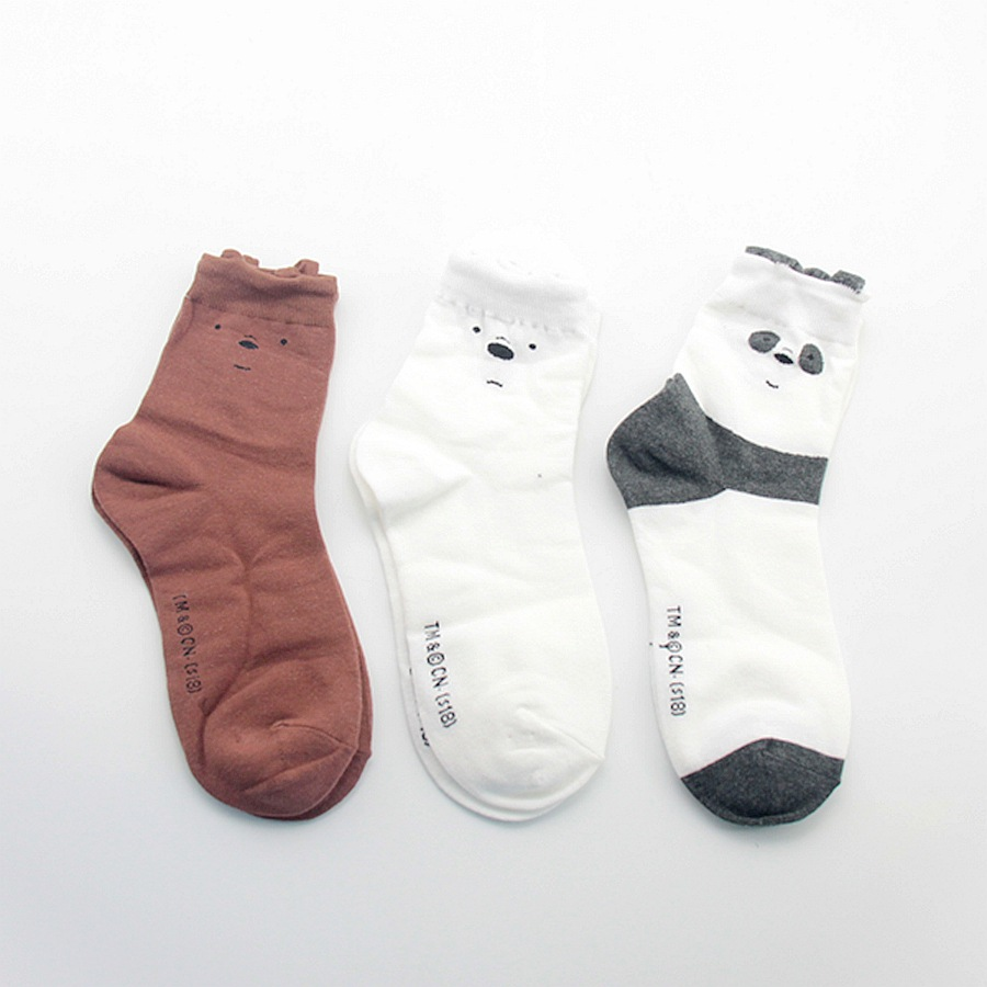 3 Pairs New Cute Bears Panda Socks Women Soft Breathable Cotton Socks Casual Socks Fashion Style Cartoon Sock