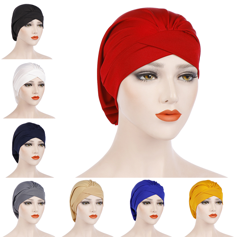 Fashion Muslim Hijab Headscarf Inner Hijab Caps Women Soft Cross Headband Islamic Turban Hat Headwrap Women Muslim Turban Hijab