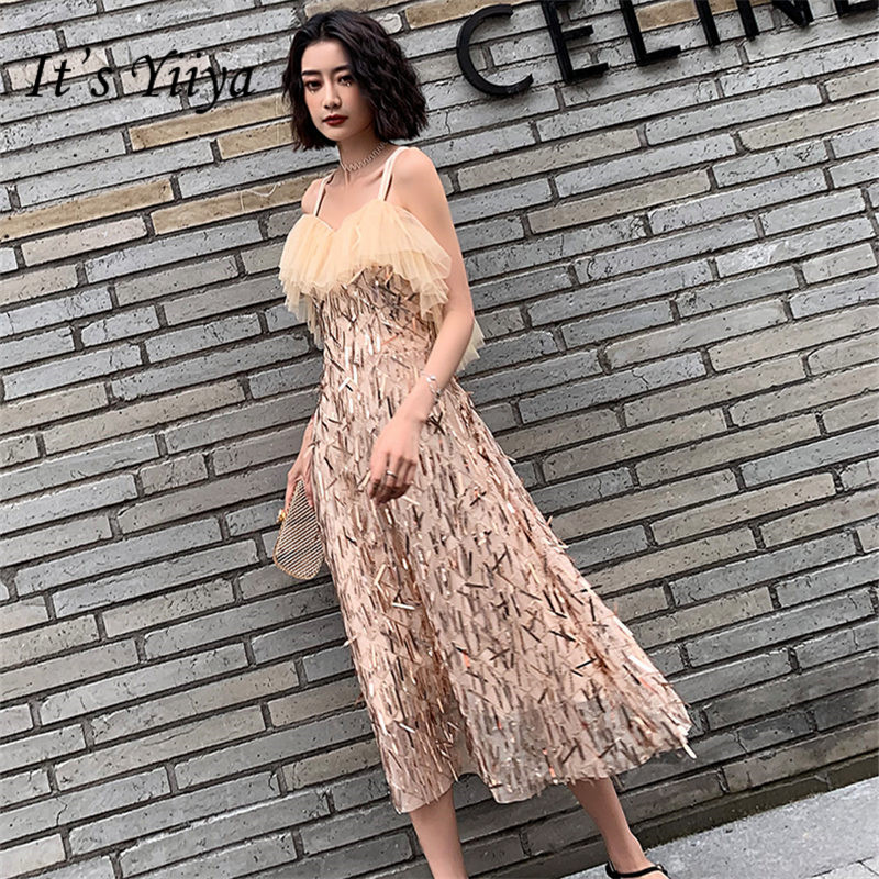 It's YiiYa Cocktail Dress Champagne V-Neck Sleeveless Women Party Dresses Sequin Spaghetti Strp  A-Line Robe Cocktail Gowns E836