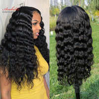 Pelucas de cabello humano de 30 pulgadas Peluca de ondas profundas sueltas con malla frontal sin pegamento 13*4 peluca frontal para mujeres negras Arabella cabello Remy Peluca de ondas profundas