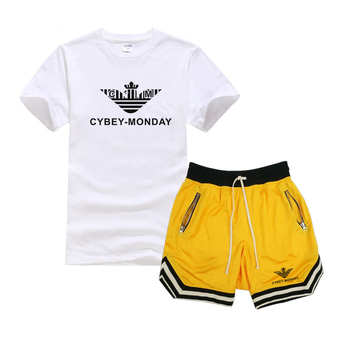 2020 new summer fashion T-shirt + shorts suit men's summer 2 pieces of sportswear + shorts suit beach men's casual T-shirt suit