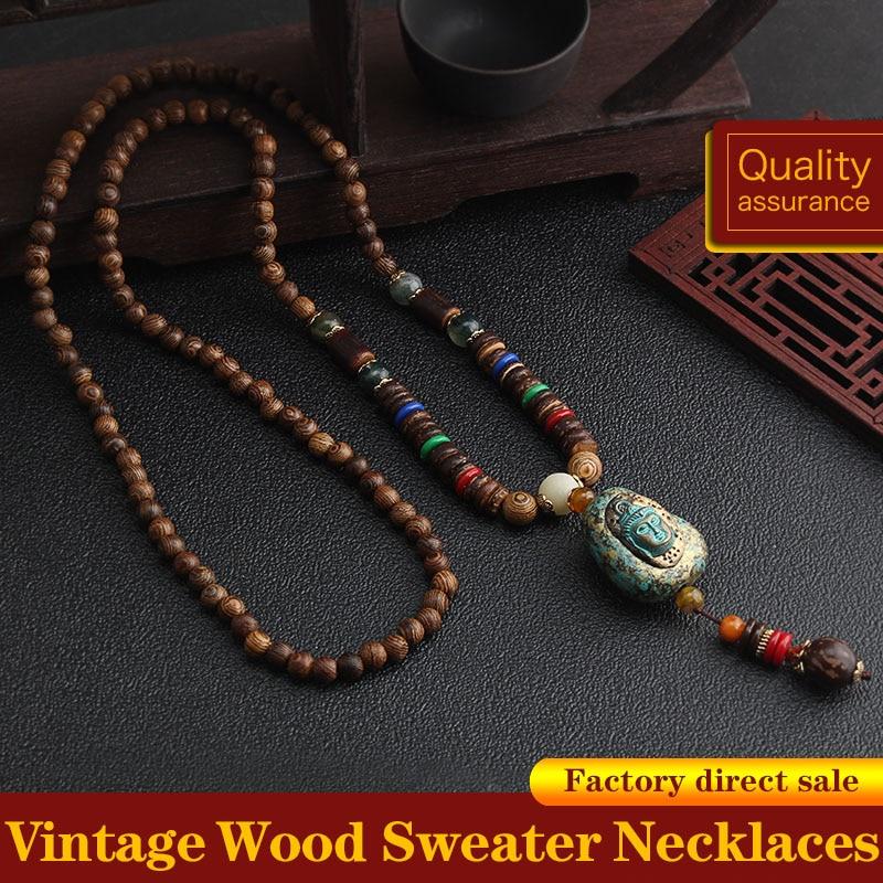 Vintage Handmade Necklace Nepal Buddhist Mala Wood Beads Pendant & Necklace Ethnic Fish Horn Long Statement Men Women's Jewelry