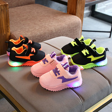 2020 Cartoon thunder LED shoes kids lighted glowing children sneakers classic baby tennis leisure girls boys shoes