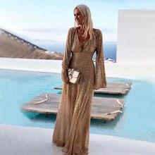 Осеннее женское длинное платье макси с блестками, расклешенное с длинным рукавом, глубокий v-образный вырез, вечернее пляжное платье для выпускного вечера, стильный Сарафан Vestidos