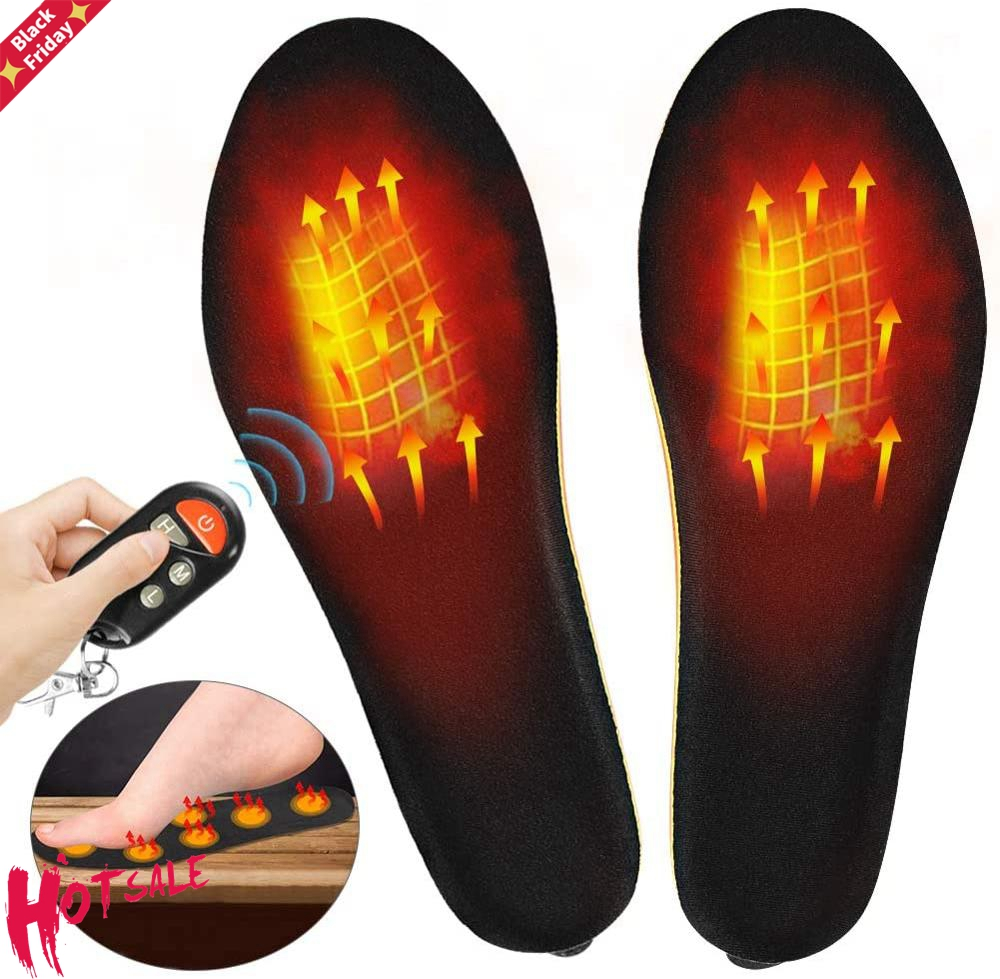 1800mAh Rechargeable Heated Insoles with Wireless Remote Control Winter Foot Warmer Heating Insoles Size EUR 35-46# Cut to Fit