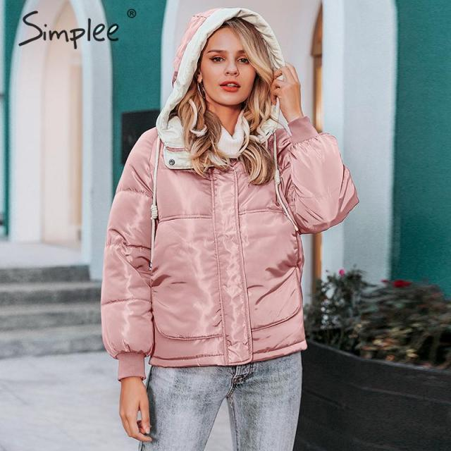 Simplee Fashion autumn winter women parka Thick plus size hooded female warm padded coat Zipper pockets outwear ladies overcoats