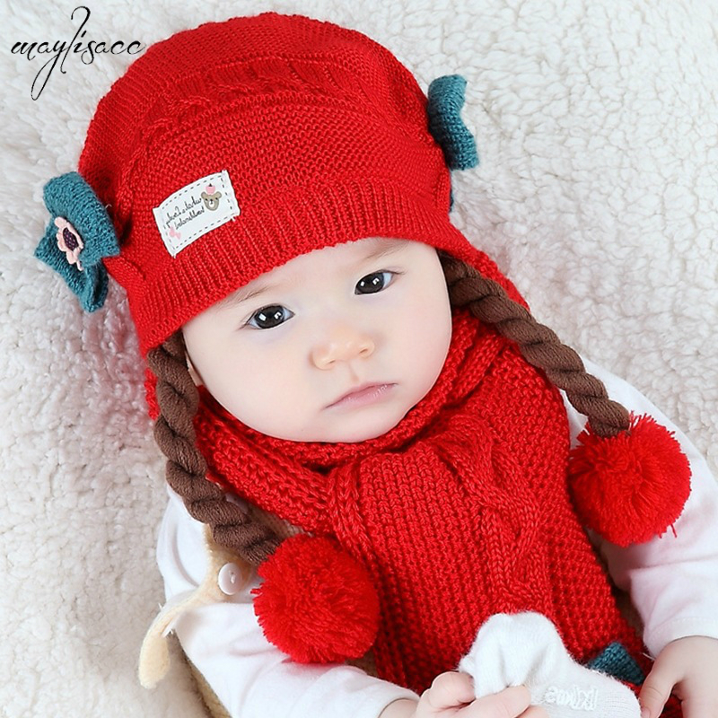 1-3 Years Kids Warm Autumn/Winter Knitted Hat Scarf Set Cute Princess Wig Braid Wool Hat Baby Knitted Hat Scarf Two Piece Set