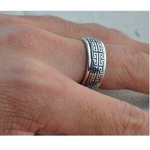 Image 5 - Gerçek gümüş yüzük 925 ayar gümüş yüzük erkekler kadınlar S925 halkası döndürme Vintage yüzük takı hediye büyük duvar hareketli S925 bant yüzük