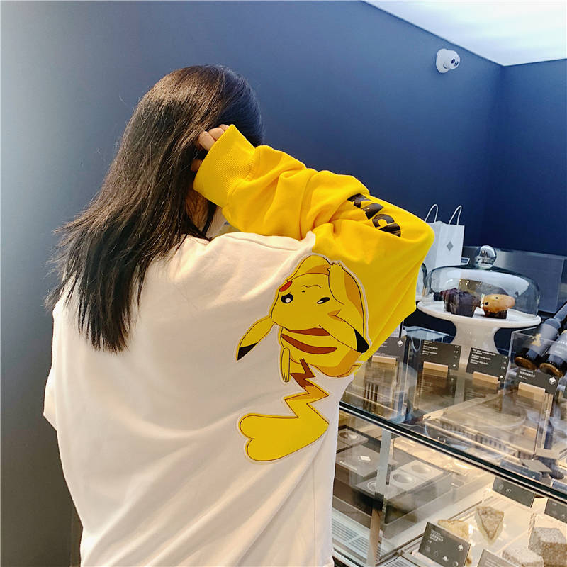 New Pokemon Pikachu Women Harajuku Splice Contrast Color Round Neck Hoodie Cartoon Leisure Kawaii  Sweatshirt Autumn And Winter