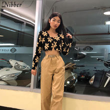 Nibber Musim Gugur Harajuku Cetak Full Sleeve Crop Top Wanita T-shirt 2019 Fashion High Street Atasan Kasual Hitam Tee Shirt Mujer(China)