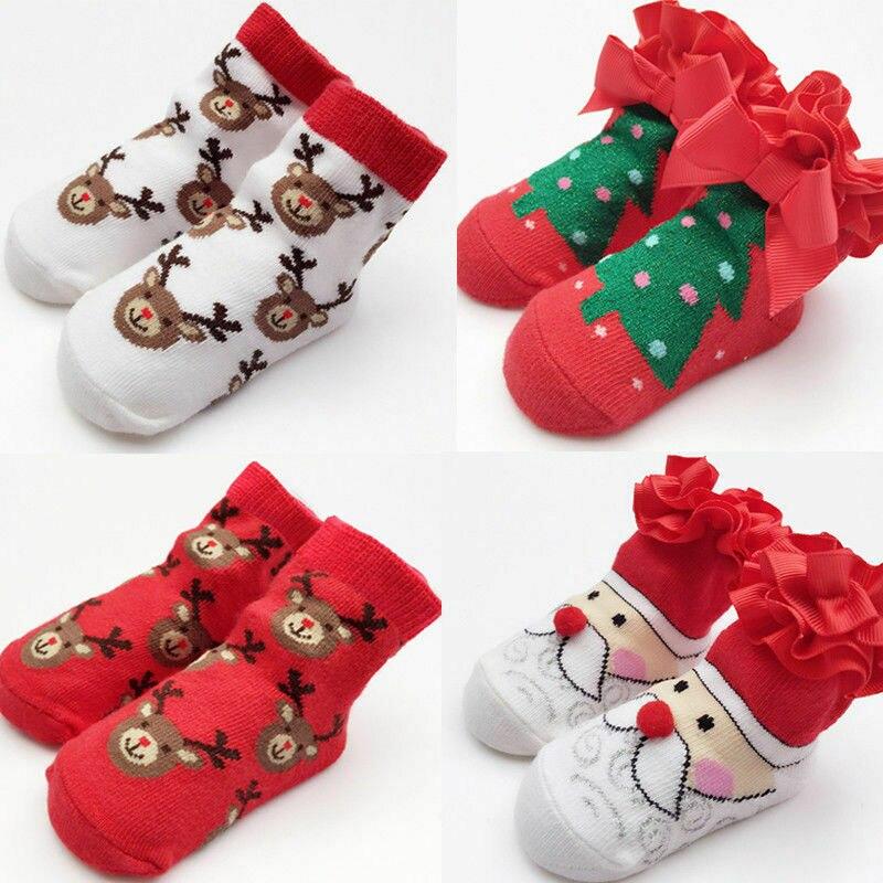 Pudcoco Christmas Socks Newborn Infant Baby Boy Girl Cotton Socks Infant Toddler Kids Xmas Santa Tree Soft Socks