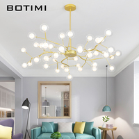 BOTIMI LED Chandelier With Glass Lampshades For Living Room Metal Lustres 220V Chandeliers Hanging Lamp Supension Light Fixtures|Chandeliers| |  -