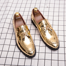 Hot Sale Men Flat Black Golden Formal Patchwork Shoe PU Leat