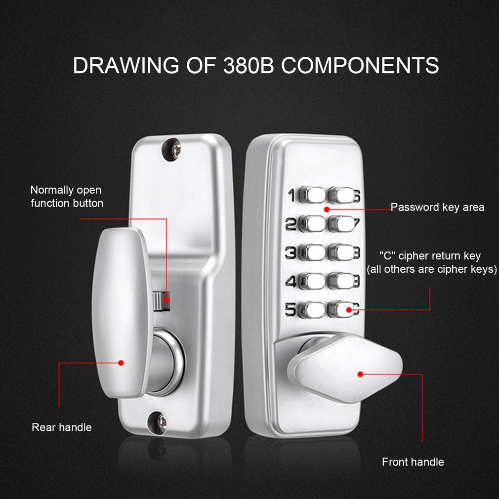 380B Digital Password Door Lock Mechanical Code Keyless Entry Door Lock Waterproof Non-Power Anti-rust Lock For 30-65mm Door