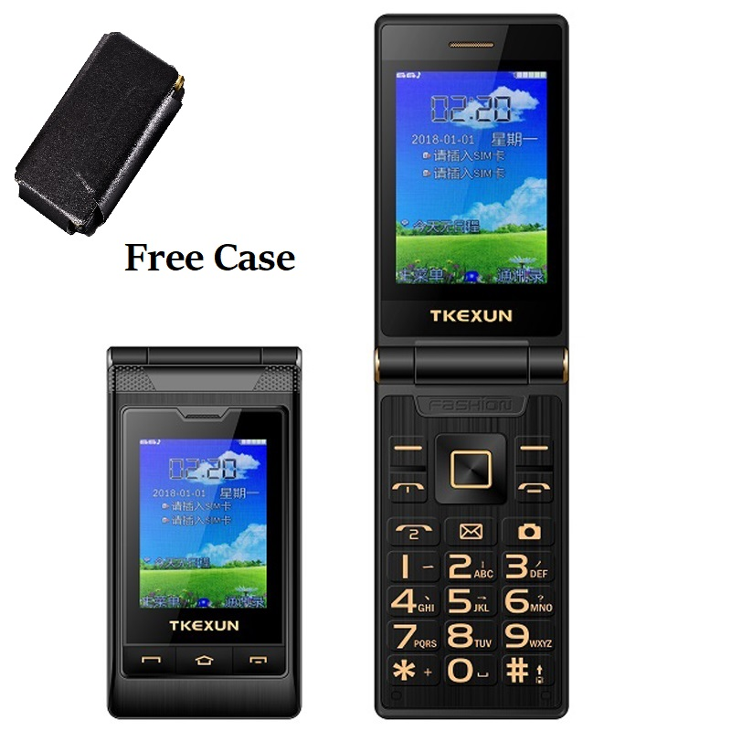 Tkexun Two Large Screen Flip Mobile Phone Handwriting Dual Answer Quick Dial SOS Call Blacklist Large Key Flashlight Free Case