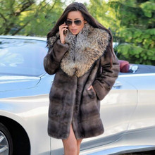 Fashion Real Mink Fur Coats for Women 2021 New Whole Skin Genuine Mink Fur Coat with Raccoon Dog Fur Turn-down Collar Overcoats
