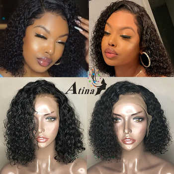HD Transparent Lace Front Human Hair Wigs Invisible Fake Scalp Wig 13x6 Deep Part Pixie Cut Bob Curly Remy PrePlucked 130% Atina
