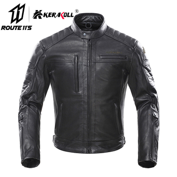KERAKOLL Motorcycle Jacket Men Vintage Retro Leather Moto Jacket Chaqueta Moto Windproof Waterproof Motocross Jacket Black
